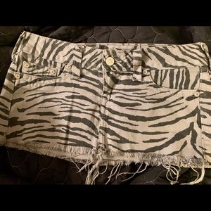 "True Religion ""Mandy"" Zebra Print Mini Skirt"